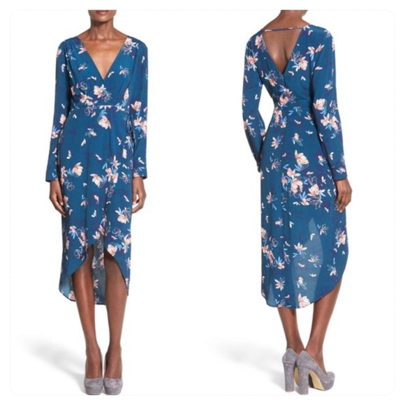 Astr Dresses & Skirts - ASTR Floral Wrap Front Surplice High Low Dress